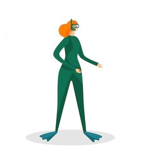 Mergulho de snorkel de personagem feminina