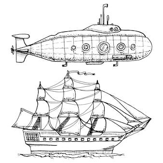 Mergulho de submarino militar ou barco subaquático com periscópio ao fundo do mar. navio de cruzeiro ou ilustração de veleiro.