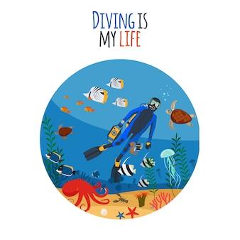 Mergulho é minha ilustração da vida