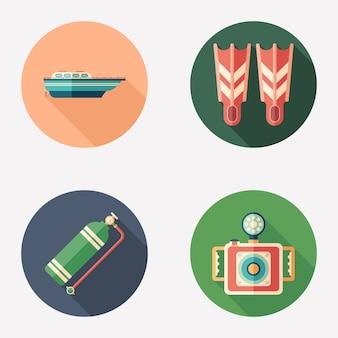 Mergulho e recreação plana rodada ícone conjunto.
