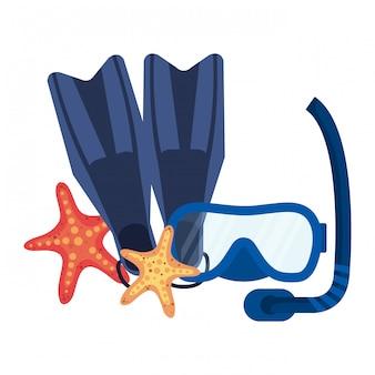 Mergulho máscara de snorkel e barbatanas com estrela do mar