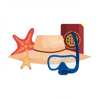 Mergulho máscara de snorkel e passaporte com chapéu de palha