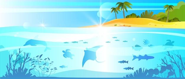 Mergulho subaquático no oceano no verão com golfinho raia