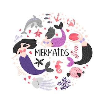 Mermaida e animais do oceano