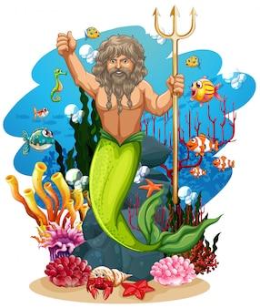 Merman e muitos peixes no fundo do oceano