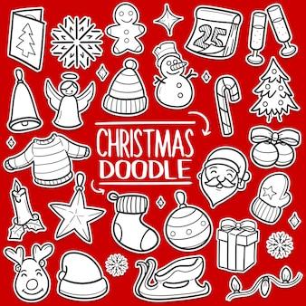 Merry christmas banner postcard design de doodle adesivos