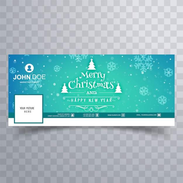 Merry christmas card design de modelo de banner do facebook