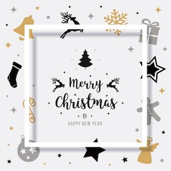 Merry christmas card saudação elementos texto sombra frame