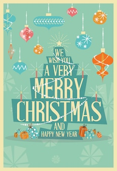 Merry christmas greeting card árvore de natal de meados do século
