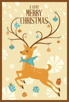 Merry christmas greeting card renas de meados do século mod