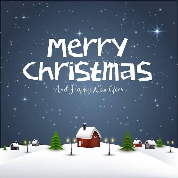 Merry christmas greeting paisagem de noite de inverno