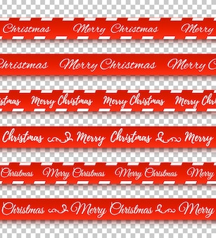 Merry christmas red banners conjunto de fitas de advertência em fundo transparente