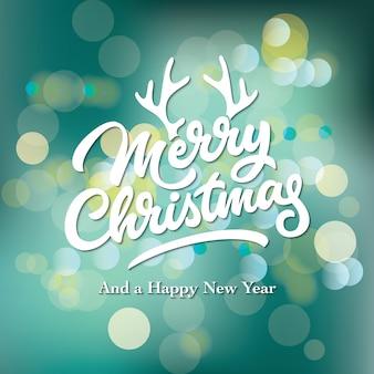 Merry christmas typography com fundo bokeh colorido