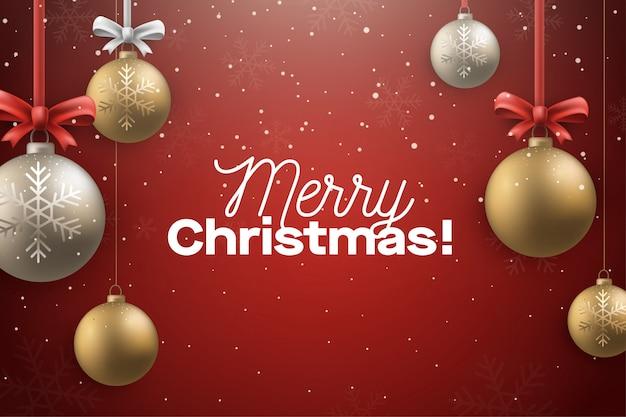 Merry christmast fundo vermelho com decoração de bola
