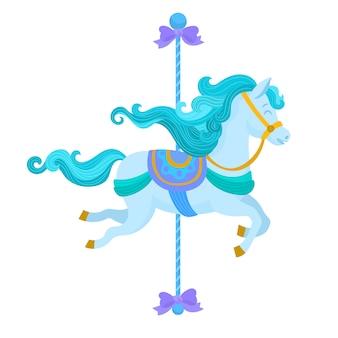 Merry vai em volta do cavalo de carrossel