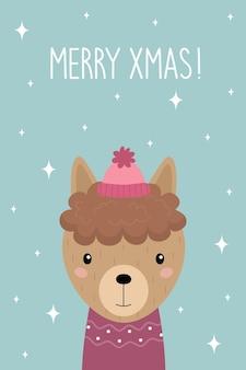 Merry xmas um cartão de natal desenhos animados bonitos de alpaca com um chapéu