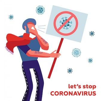 Mers-cov - coronavírus da síndrome respiratória do oriente médio, novo coronavírus 2019-ncov, homem infectado espirrando em um lenço com um banner na mão. - vamos parar o coronavírus