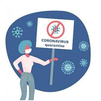 Mers-cov - coronavírus da síndrome respiratória do oriente médio, novo coronavírus 2019-ncov, mulher com máscara facial médica e banner na mão. de quarentena de coronavírus