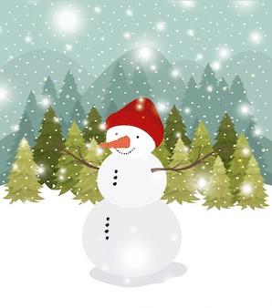 Mery cartão de natal com boneco de neve no snowscape