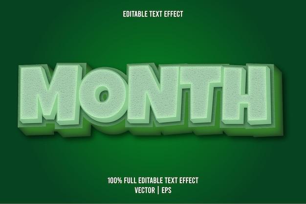 Mês 3 dimensão efeito de texto editável cor verde