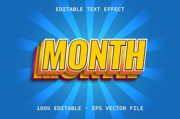 Mês com efeito de texto editável de estilo moderno em camadas