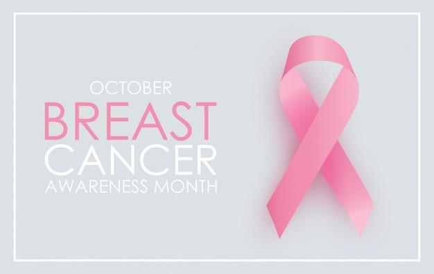 Mês da conscientização do câncer de mama em outubro. sinal de fita rosa.