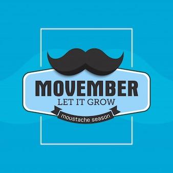 Mês da conscientização do câncer de próstata de movember. bigodes e fundo da fita azul
