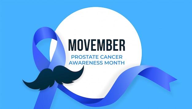 Mês da conscientização do câncer de próstata de movember, design de campanha com fita azul e bigode