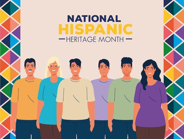 Mês da herança hispânica nacional com grupo de pessoas multiétnicas