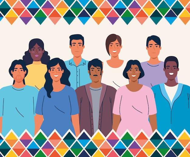 Mês da herança hispânica nacional, com grupo multiétnico de pessoas juntas