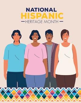 Mês da herança hispânica nacional com grupo multiétnico de pessoas