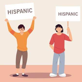 Mês da herança hispânica nacional com ilustrações de desenhos animados masculinos latinos, cultura e diversidade.