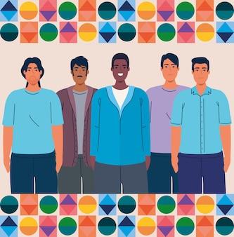 Mês da herança hispânica nacional e grupo multiétnico de homens juntos
