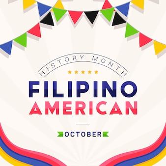 Mês da história americana filipina - outubro - modelo de banner quadrado com o texto e bandeiras decorativas coloridas em torno dele. homenagem às contribuições dos filipino-americanos à cultura mundial.