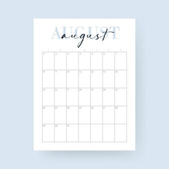 Mês de agosto. calendário de 2021. layout para 2021 anos. semana começa no domingo. modelo de calendário de parede