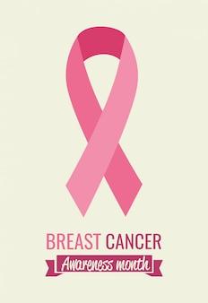Mês de conscientização de câncer de mama cartaz com fita