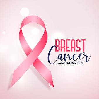 Mês de conscientização de câncer de mama com cartaz realista fita rosa