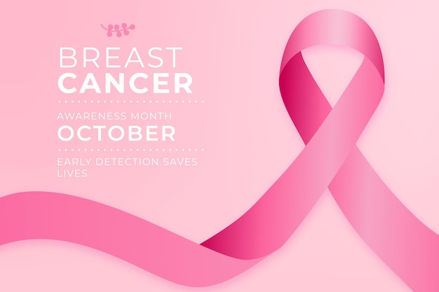 Mês de conscientização do câncer com fita rosa
