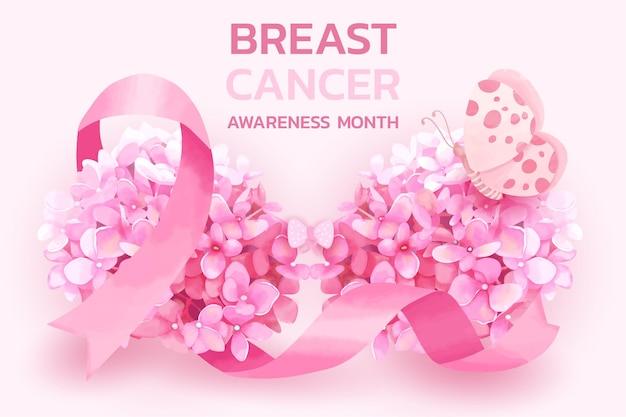 Mês de conscientização do câncer de mama com fita rosa e conceito de flores de hortênsia