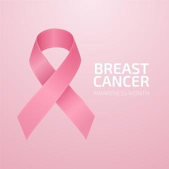 Mês de conscientização do câncer de mama com ilustração realista de fita rosa