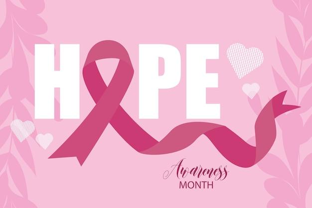 Mês de conscientização do câncer de mama esperança inspiradora fita rosa vetor e ilustração design
