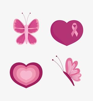 Mês de conscientização do câncer de mama fita rosa coração amor ícones de borboleta