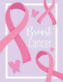 Mês de conscientização do câncer de mama fitas rosa borboletas motivacionais