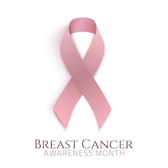 Mês de conscientização do câncer de mama. fundo com fita rosa. ilustração.