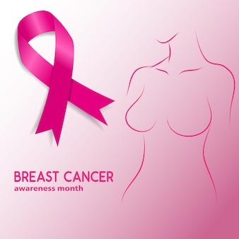 Mês de conscientização do câncer de mama. silhueta de mulher com fita de conscientização de câncer de mama