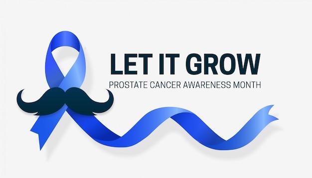 Mês de conscientização do câncer de próstata, design de campanha com fita azul e ilustração vetorial de bigode