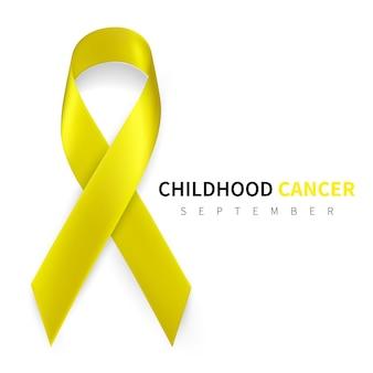 Mês de conscientização do câncer infantil. símbolo de fita de ouro realista.