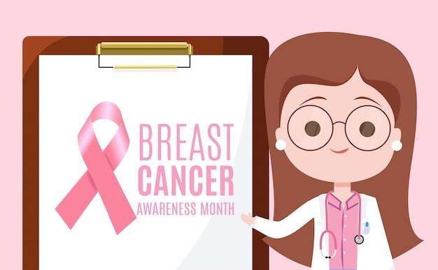 Mês de conscientização sobre o câncer de mama com um médico