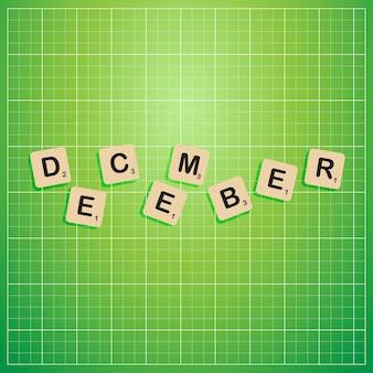 Mês de dezembro em letras maiúsculas com conceito de bloco scabbles