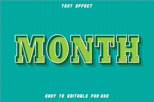 Mês de efeito de texto editável em relevo estilo retro